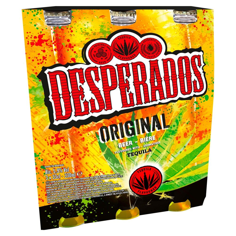 Desperados Tequila Lager Beer 3 x 330ml Bottles