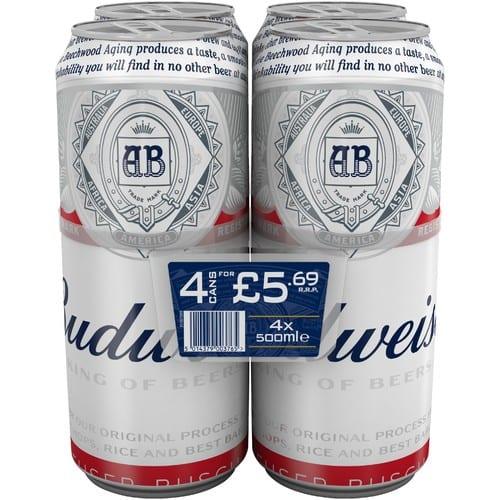 Budweiser 4.5% Abv 4 Pack PM