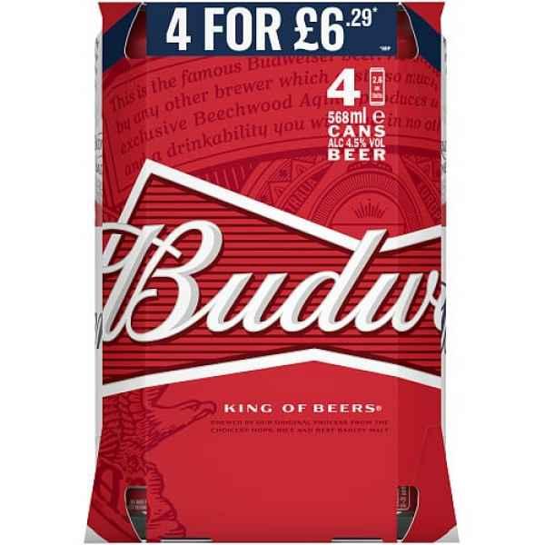 Budweiser 4.5% Abv 4 Pack 568ml PM
