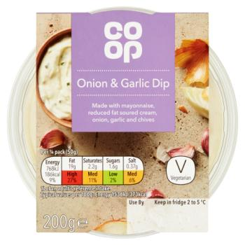Co Op Onion & Garlic Dip 200g