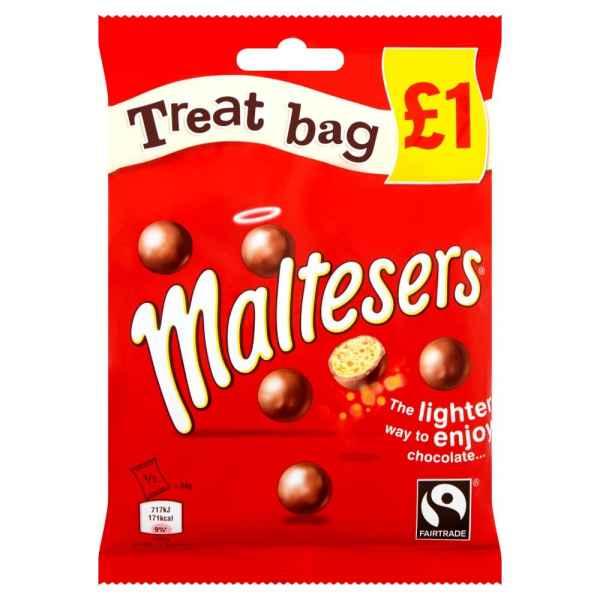Maltesers Fairtrade Chocolate Treat Bag Pack 68g PM