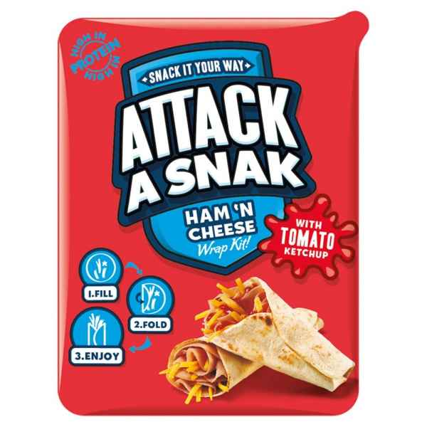 Attack a Snak Ham 'n Cheese Wrap Kit with Tomato Ketchup 99g