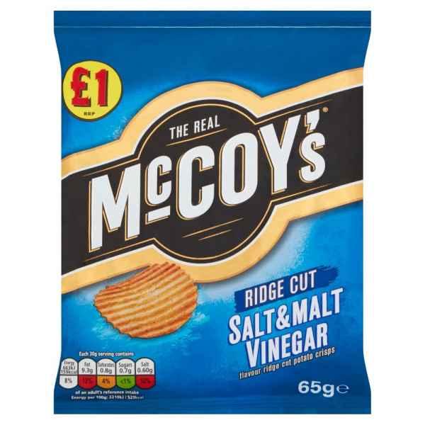 McCoy's Salt & Malt Vinegar Flavour Ridge Cut Potato Crisps 65g