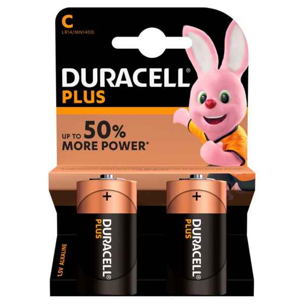 Duracell Plus Power Alkaline C Batteries, Pack of 2