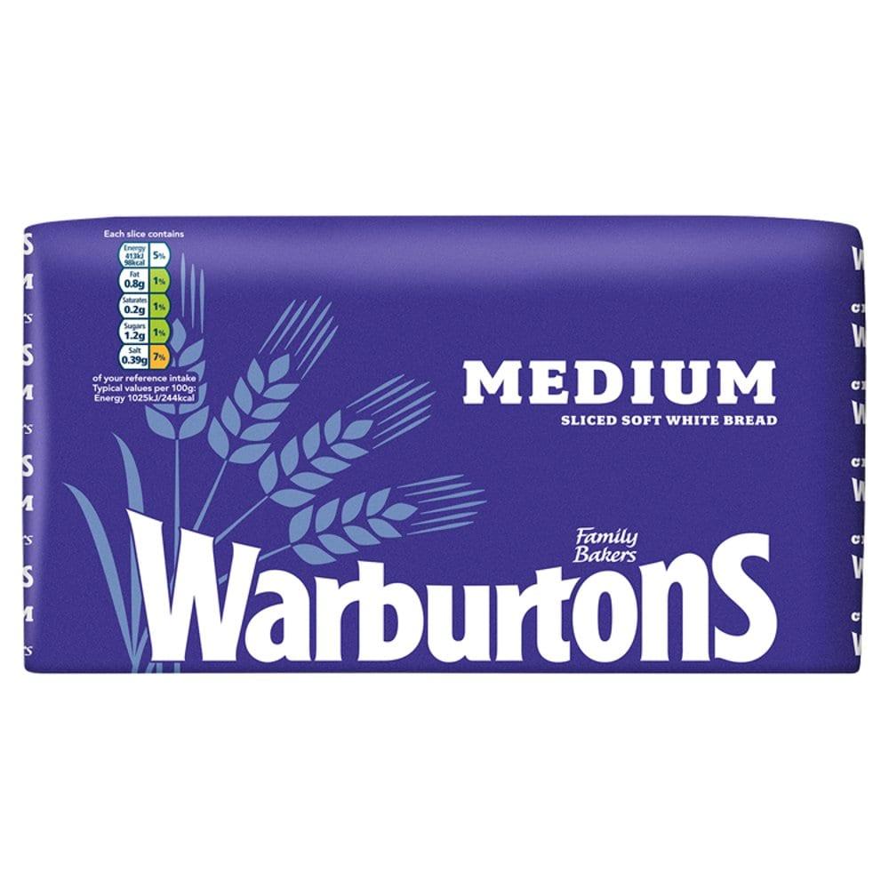 Warburtons Medium Sliced Soft White Bread 800g