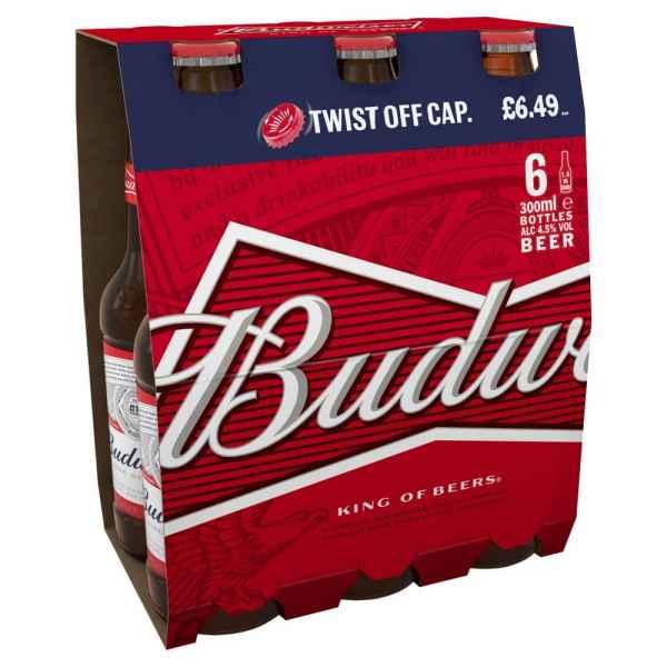 Budweiser Lager Beer Bottles 6 x 300ml PMP