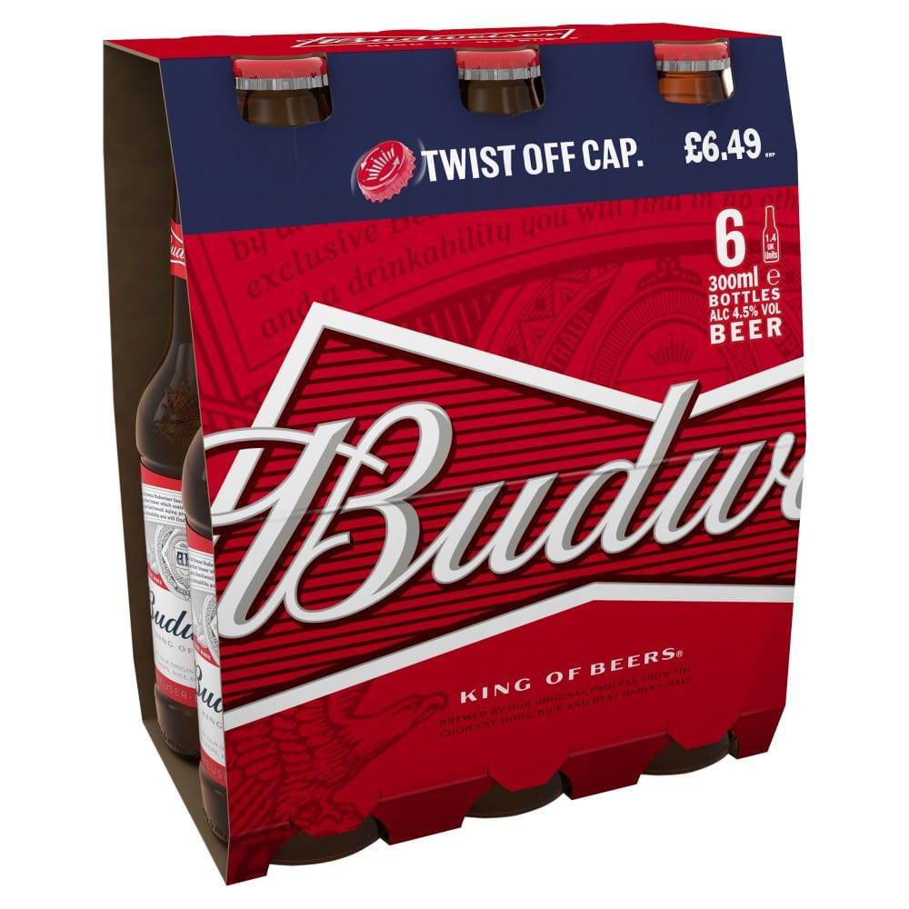 Budweiser Lager Beer Bottles 6 x 300ml PM