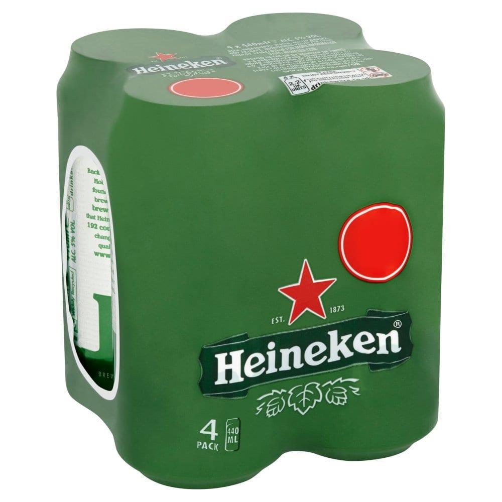 Heineken Lager Beer 4 x 440ml Cans PMP
