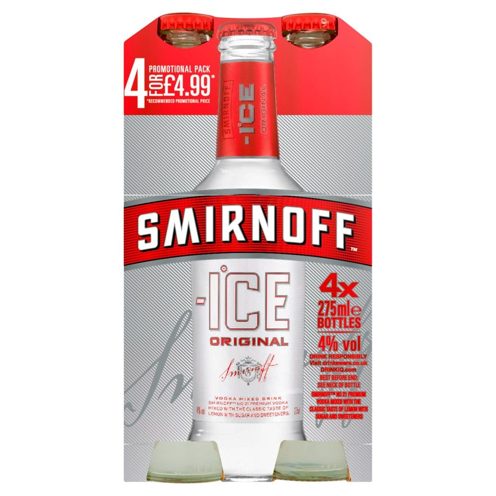 Smirnoff Ice Vodka Mixed Drink 4 x 275ml Premix Can PM