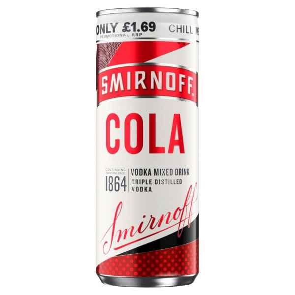 Smirnoff & Cola Vodka Mixed Drink 250ml PMP