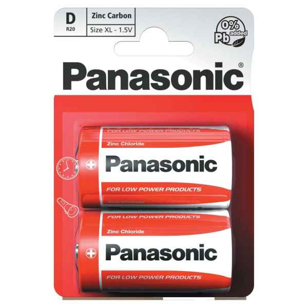 Panasonic D 1.5V Zinc Carbon Batteries x 2pk