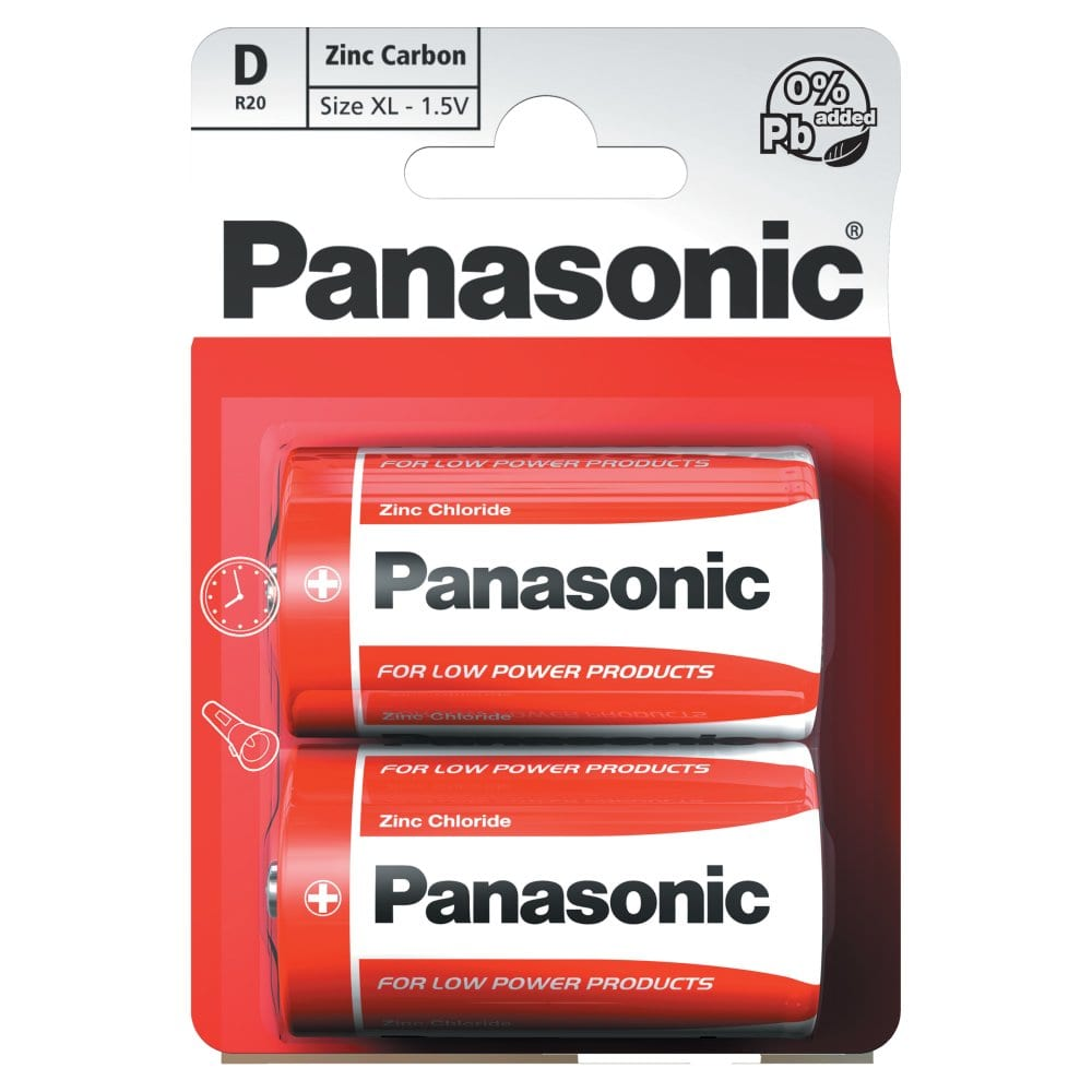 Panasonic D 1.5V Zinc Carbon Batteries x 2pk