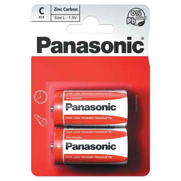 Panasonic C 1.5V Zinc Carbon Batteries x 2pk