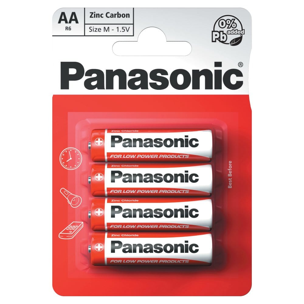 Panasonic AA 1.5V Zinc Carbon Batteries x 4pk