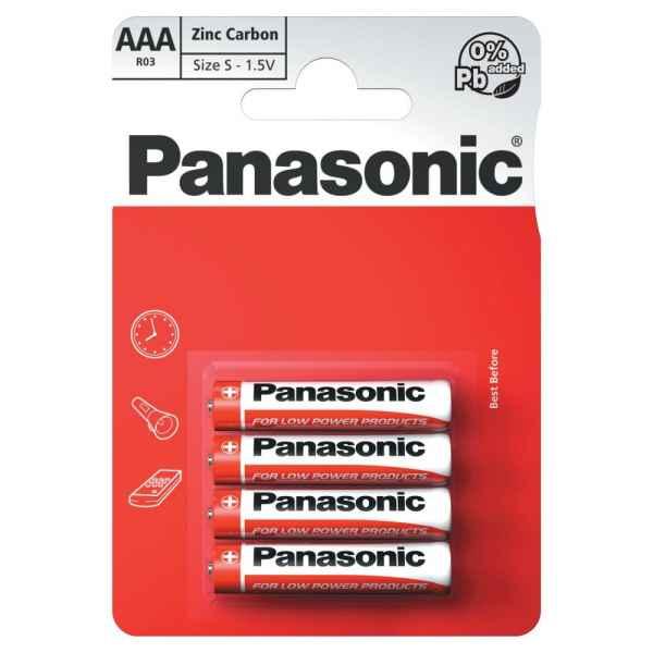 Panasonic AAA 1.5V Zinc Carbon Batteries x 4pk