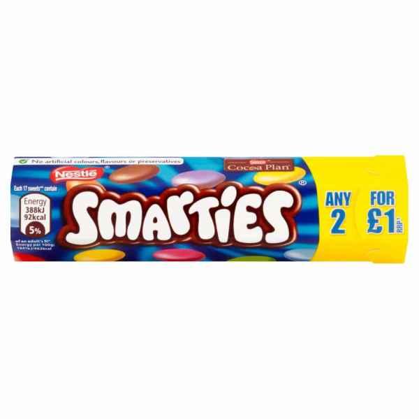 Nestle Smarties Milk Chocolate Sweets 38g