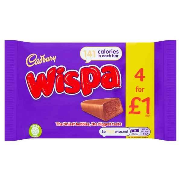 Cadbury Wispa œ1 Chocolate Bar 4 Pack 102g