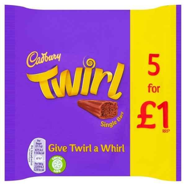 Cadbury Twirl Chocolate Bar 5 Pack 107.5g PM