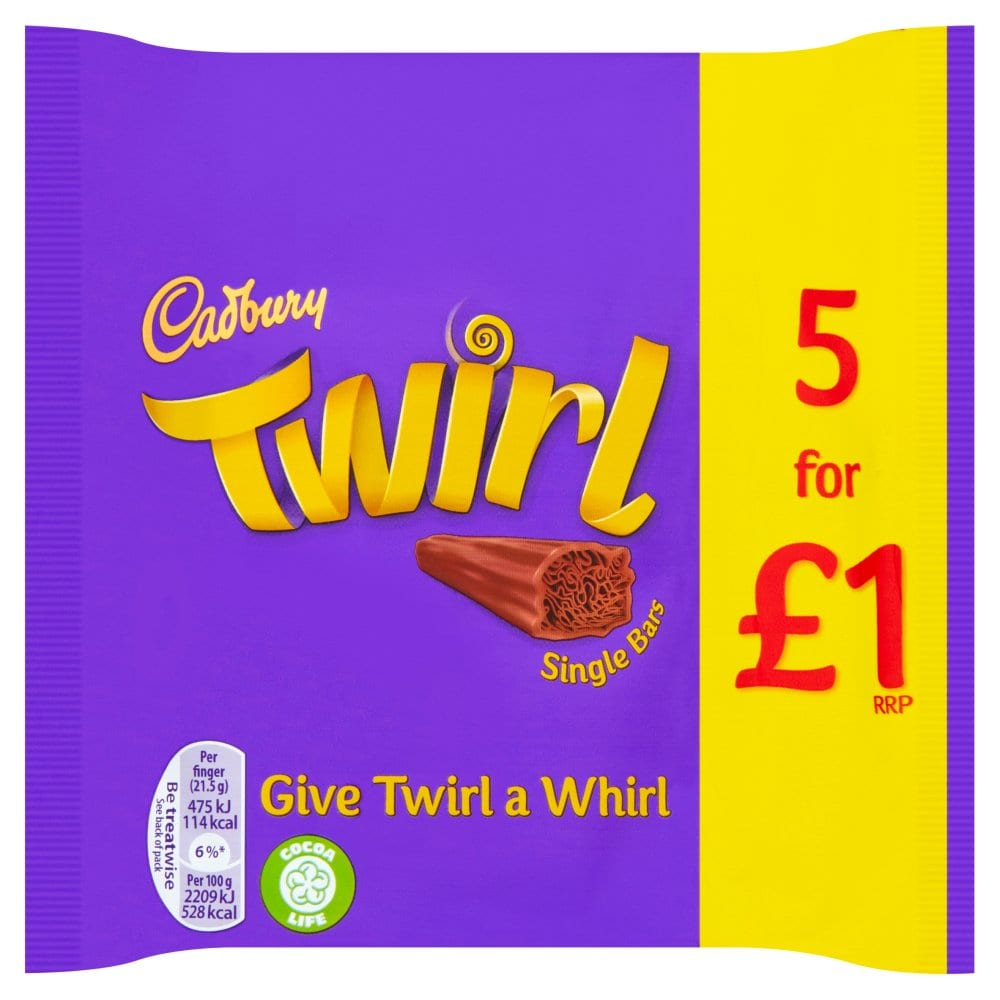 Cadbury Twirl Chocolate Bar 5 Pack 107.5g PM