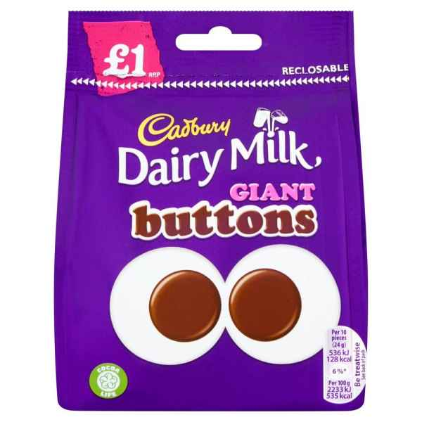 Cadbury Dairy Milk Giant Buttons Chocolate Bag 95g PM