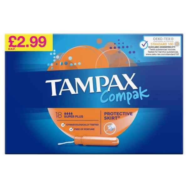 Tampax Compak Super Plus Tampons Applicator 18X PM