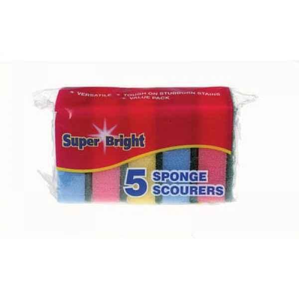 Super Bright Sponge Scourers 5pk