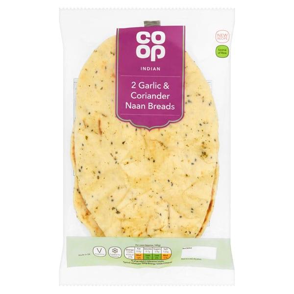 Co Op Garlic & Coriander Naan Bread 2 Pack