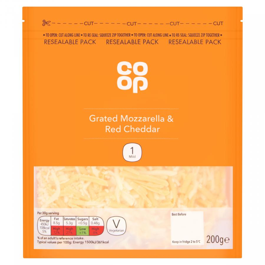 Co-op Grated Mozzarella and Red Cheddar