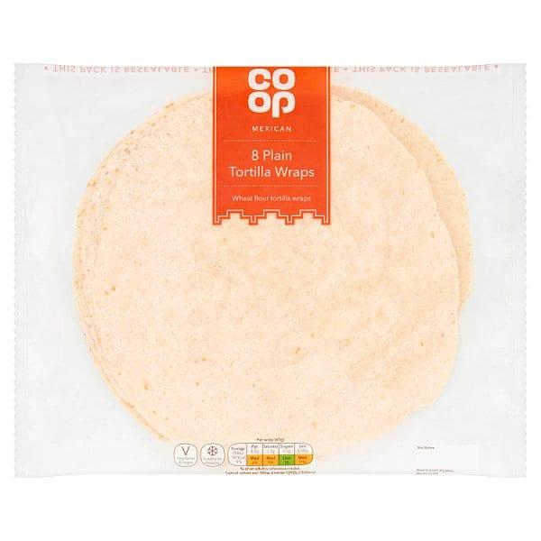 Co Op 8 Plain Tortilla Wraps