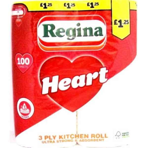 Regina Heart Kitchen Roll 3 Ply 100 Sheets PM