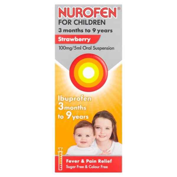 Nurofen for Children, Ibuprofen Liquid Max 9 Years, Strawberry, 100ml