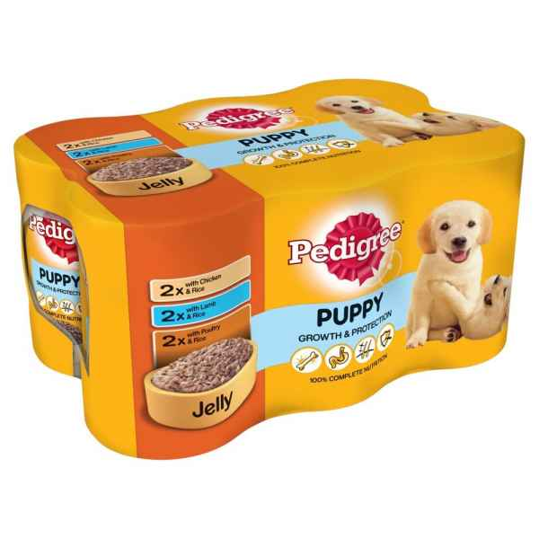 Pedigree Puppy Wet Dog Food Tins Mixed Selection in Jelly 6 x 400g (2.4kg) PM