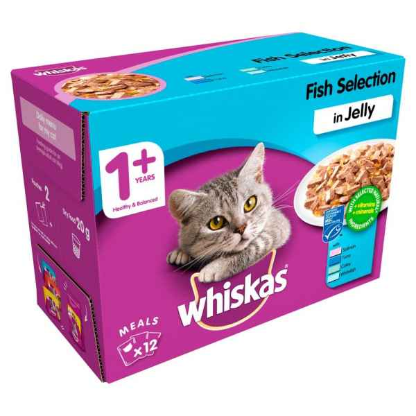 Whiskas Fish Selection in Jelly Wet Adult 1+ Cat Food Pouches 12 x 100g