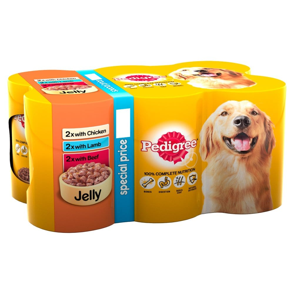 Pedigree Wet Dog Food Tins Mixed Variety Selection in Jelly 6 x 385g PM