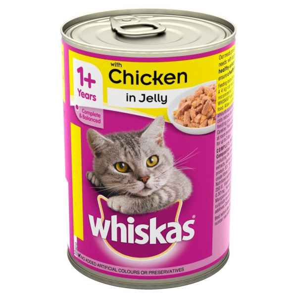 Whiskas Chicken in Jelly 390g  1+ Years Adult Wet Cat Food Tin