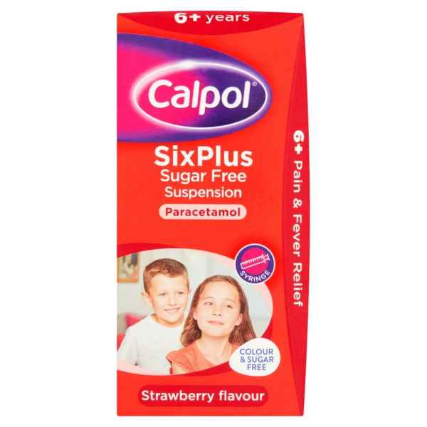 Calpol SixPlus Sugar Free Suspension Strawberry Flavour 6+ Years 100ml