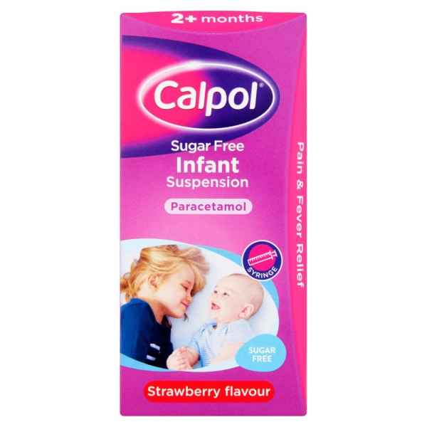 Calpol Sugar Free Infant Suspension Strawberry Flavour 2+ Months 100ml