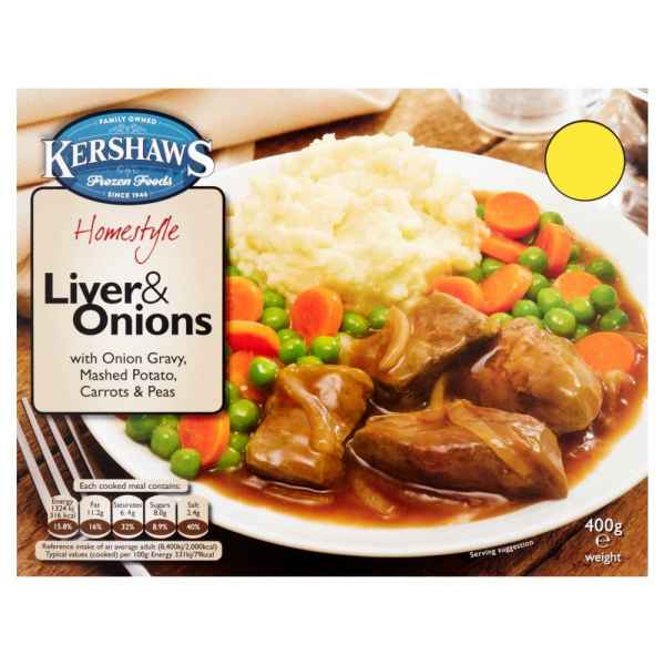 Kershaws Liver & Onions with Onion Gravy, Mashed Potato, Carrots & Peas 400g