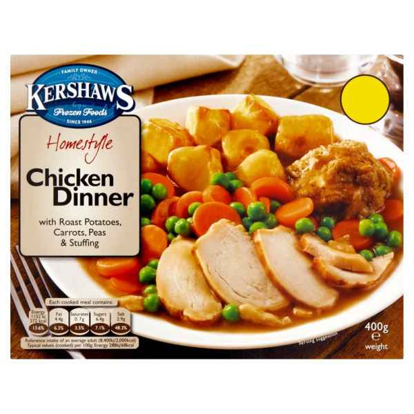 Kershaws Chicken Dinner with Roast Potatoes, Carrots, Peas & Stuffing 400g