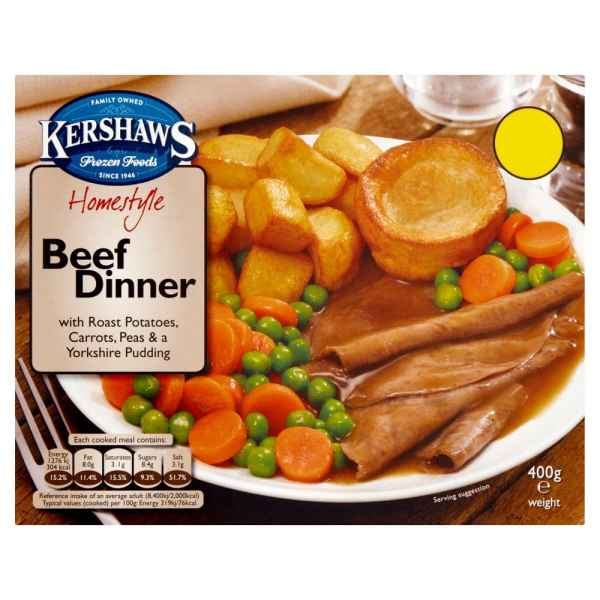 Kershaws Beef Dinner with Roast Potatoes, Carrots, Peas & a Yorkshire Pudding 400g