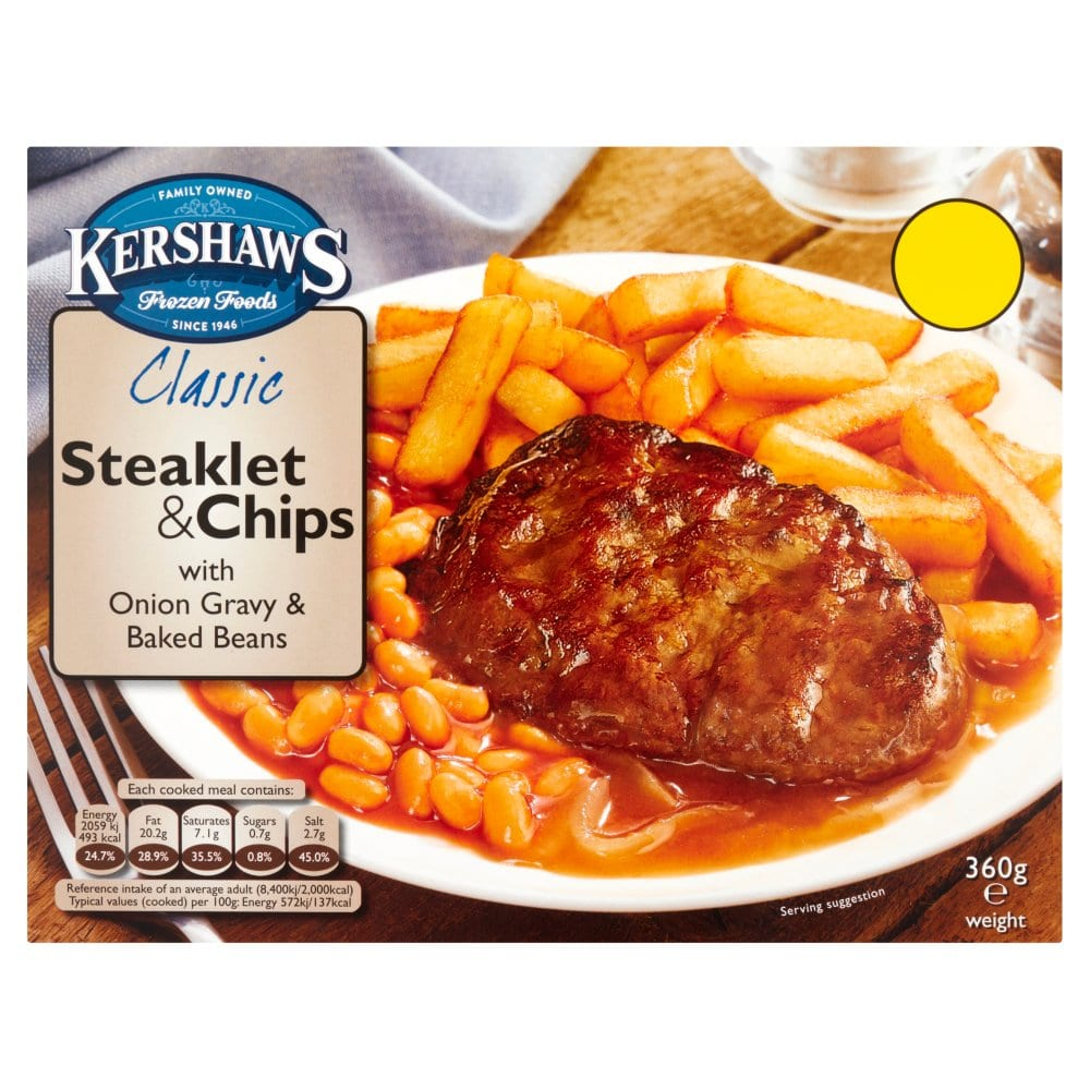 Kershaws Steaklet & Chips with Onion Gravy and Baked Beans 360g