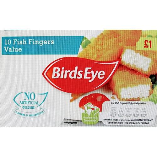 Birds Eye 10 Fish Fingers Value 250g