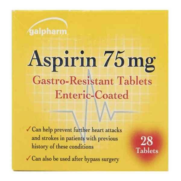 Galpharm Aspirin 75mg Gastro-Resistant Enteric-Coated Tablets 28