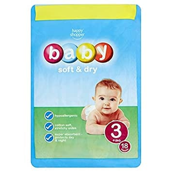 Happy Shopper Baby Soft & Dry 3 4-9kg 18 Nappies