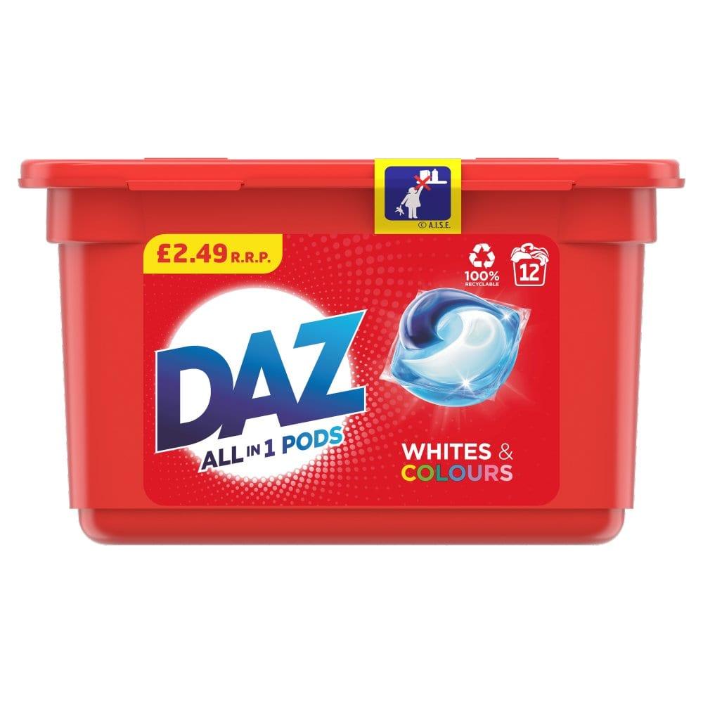 Daz 3in1 Pods Whites & Colours Washing Liquid Capsules 12 Washes