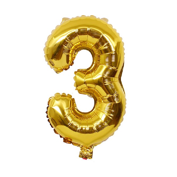 3 – Gold Numbered Balloon