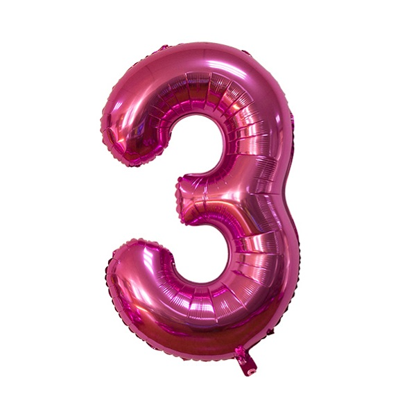 3 – Pink Numbered Balloon