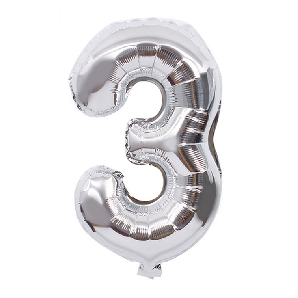 3 – Silver Numbered Balloon
