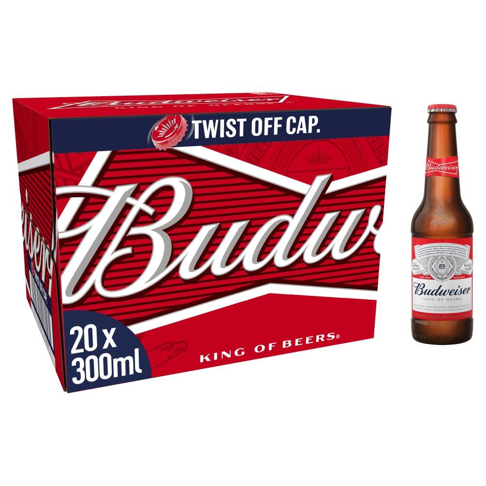 Budweiser Lager Beer Bottles – Premier League Edition 20 x 300ml
