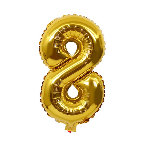 8 – Gold Numbered Balloon